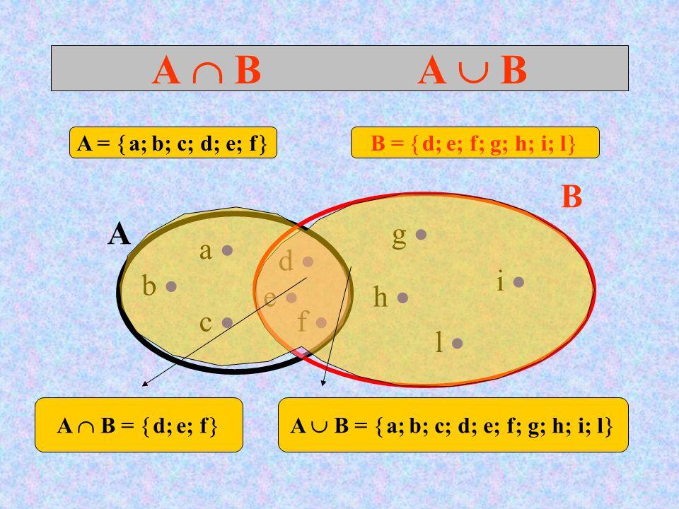 A  B A  B A B a  d  c  b  e  f  g  h  l  i  A =  a; b; c; d; e; f  B =  d; e; f; g; h; i; l  A  B =  d; e; f  A  B =  a; b; c; d; e; f; g; h; i; l 