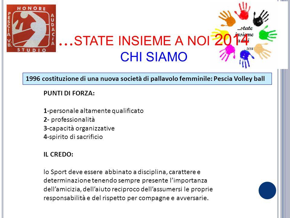 … STATE INSIEME A NOI 2014 CHI SIAMO 1996 costituzione di una nuova società di pallavolo femminile: Pescia Volley ball PUNTI DI FORZA: 1-personale alt