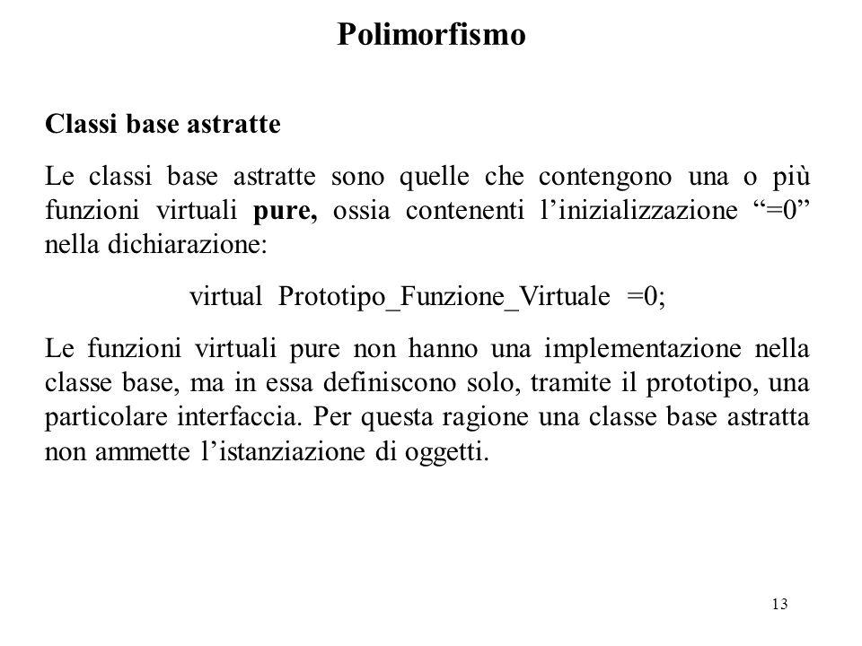 13 Polimorfismo Classi base astratte Le classi base astratte sono quelle che contengono una o più funzioni virtuali pure, ossia contenenti l'inizializzazione =0 nella dichiarazione: virtual Prototipo_Funzione_Virtuale =0; Le funzioni virtuali pure non hanno una implementazione nella classe base, ma in essa definiscono solo, tramite il prototipo, una particolare interfaccia.