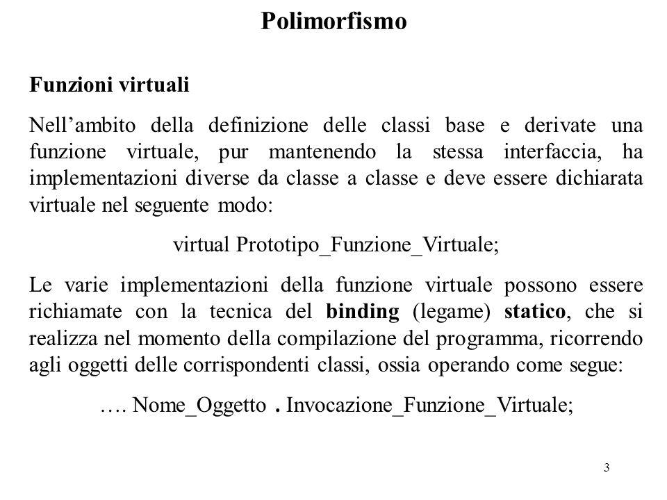 4 Polimorfismo Esempio: class Punto { public:Punto (int x=0, int y=0); virtual void print ( ); private:int x, y;}; Punto::Punto (int a, int b) {x=a; y=b;} void Punto::print ( ) {cout<< \n << x<< , <<y;} class Segmento: public Punto { public:Segmento (int x=0, int y=0, int x1=0, int y1=0); virtual void print ( ); private:int x1, y1}; Segmento::Segmento (int c, int d, int e, int f) :Punto (c, d) { x1=e; y1=f;} void Segmento::print ( ) {cout<<x1<< , <<y1<< \n ;}