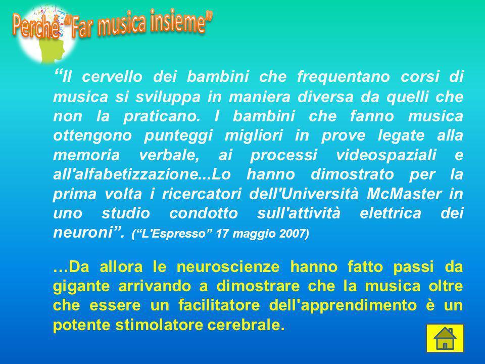 """"""" Il cervello dei bambini che frequentano corsi di musica si sviluppa in maniera diversa da quelli che non la praticano. I bambini che fanno musica ot"""