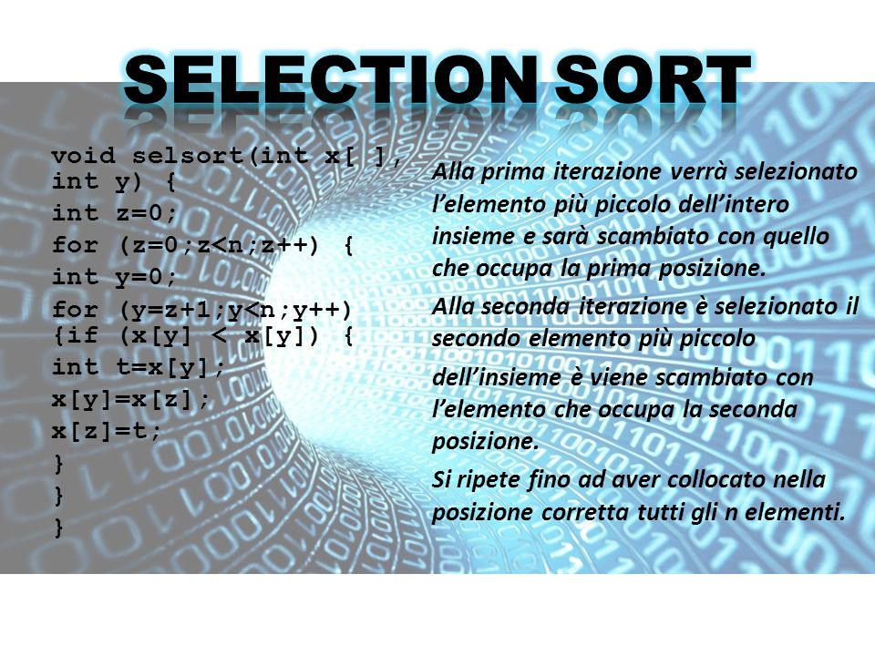 L algoritmo conta il numero di occorrenze di ciascun valore presente nell array da ordinare, memorizzando questa informazione in un array temporaneo di dimensione pari all intervallo di valori.