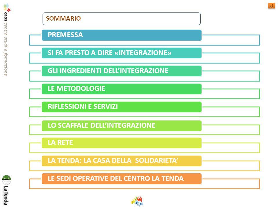 PREMESSASI FA PRESTO A DIRE «INTEGRAZIONE»GLI INGREDIENTI DELL'INTEGRAZIONELE METODOLOGIERIFLESSIONI E SERVIZILO SCAFFALE DELL'INTEGRAZIONELA RETELA TENDA: LA CASA DELLA SOLIDARIETA'LE SEDI OPERATIVE DEL CENTRO LA TENDA SOMMARIO