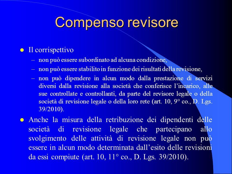 Compenso revisore l Il corrispettivo –non può essere subordinato ad alcuna condizione, –non può essere stabilito in funzione dei risultati della revis