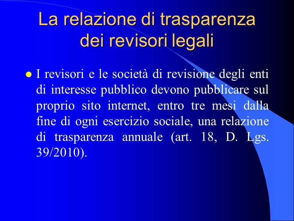 La relazione di trasparenza dei revisori legali l I revisori e le società di revisione degli enti di interesse pubblico devono pubblicare sul proprio