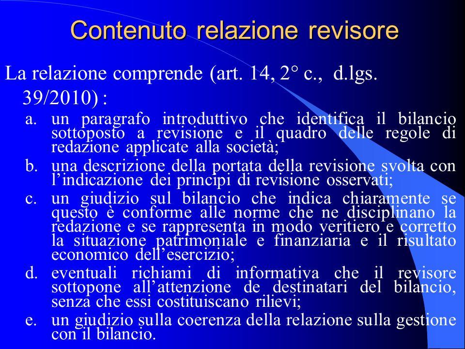 Contenuto relazione revisore La relazione comprende (art. 14, 2° c., d.lgs. 39/2010) : a.un paragrafo introduttivo che identifica il bilancio sottopos