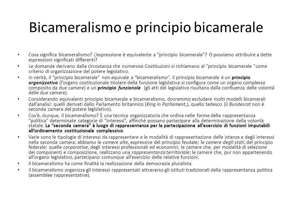 """Bicameralismo e principio bicamerale Cosa significa bicameralismo? L'espressione è equivalente a """"principio bicamerale""""? O possiamo attribuire a dette"""