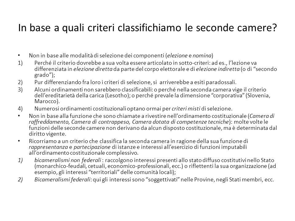 In base a quali criteri classifichiamo le seconde camere? Non in base alle modalità di selezione dei componenti (elezione e nomina) 1)Perché il criter