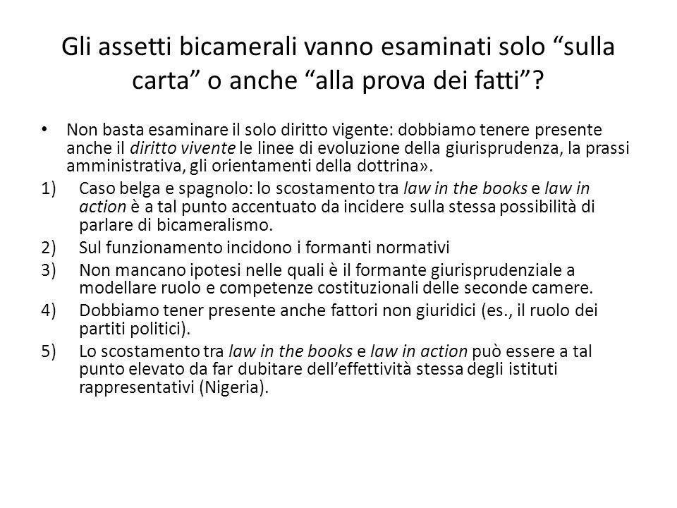 """Gli assetti bicamerali vanno esaminati solo """"sulla carta"""" o anche """"alla prova dei fatti""""? Non basta esaminare il solo diritto vigente: dobbiamo tenere"""
