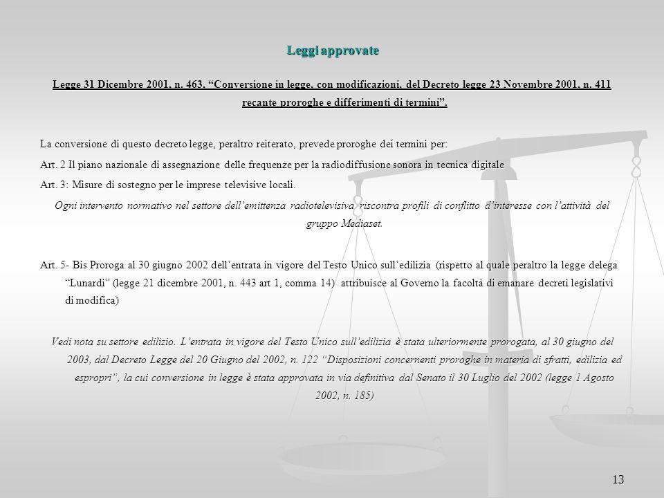 """13 Leggi approvate Legge 31 Dicembre 2001, n. 463, """"Conversione in legge, con modificazioni, del Decreto legge 23 Novembre 2001, n. 411 recante prorog"""