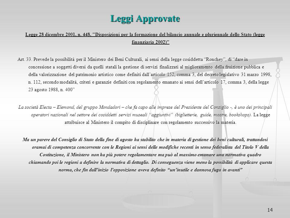 14 Leggi Approvate Legge 28 dicembre 2001, n. 448,