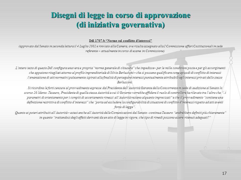 """17 Disegni di legge in corso di approvazione (di iniziativa governativa) Ddl 1707-b """"Norme sul conflitto d'interessi"""" (approvato dal Senato in seconda"""