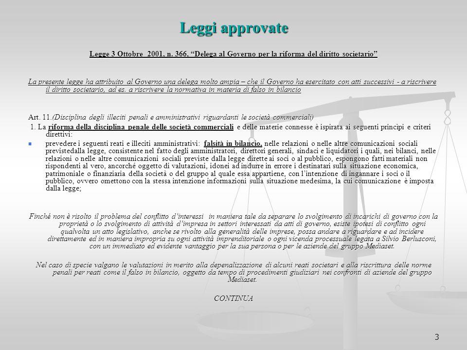 """3 Leggi approvate Legge 3 Ottobre 2001, n. 366, """"Delega al Governo per la riforma del diritto societario"""" La presente legge ha attribuito al Governo u"""
