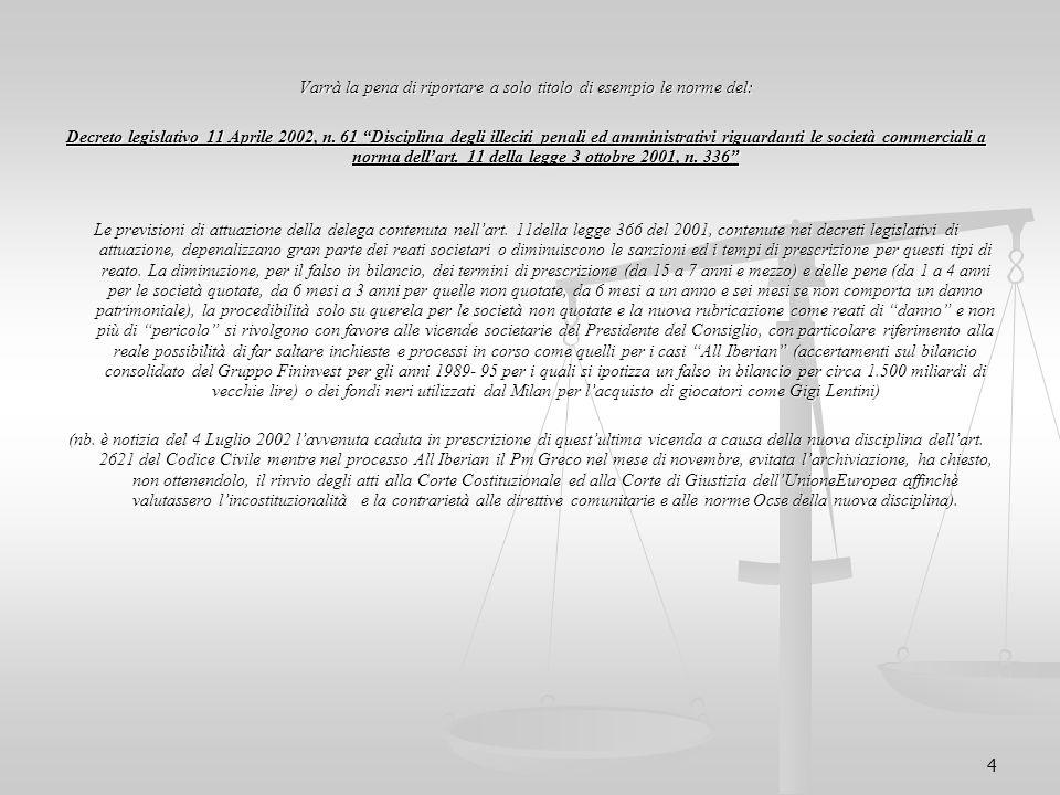 """4 Varrà la pena di riportare a solo titolo di esempio le norme del: Decreto legislativo 11 Aprile 2002, n. 61 """"Disciplina degli illeciti penali ed amm"""