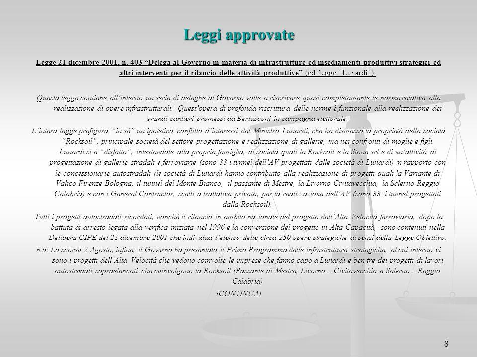 """8 Leggi approvate Legge 21 dicembre 2001, n. 403 """"Delega al Governo in materia di infrastrutture ed insediamenti produttivi strategici ed altri interv"""