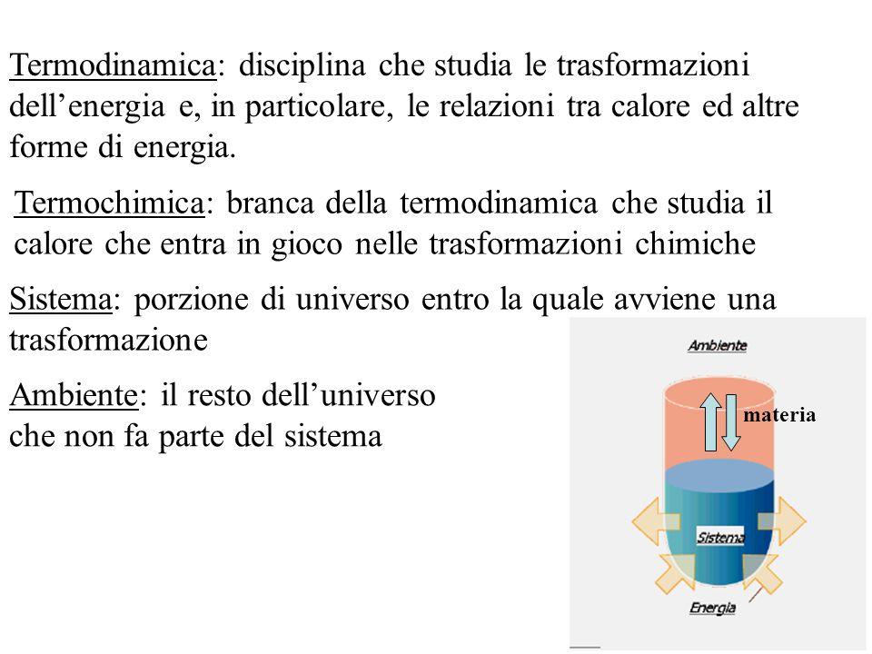 Termodinamica: disciplina che studia le trasformazioni dell'energia e, in particolare, le relazioni tra calore ed altre forme di energia. Termochimica