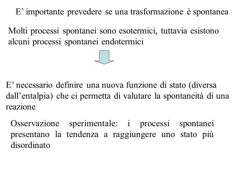 E' importante prevedere se una trasformazione è spontanea Molti processi spontanei sono esotermici, tuttavia esistono alcuni processi spontanei endote