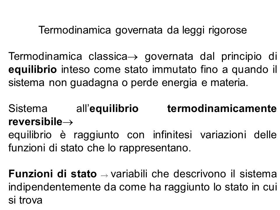 Termodinamica governata da leggi rigorose Termodinamica classica  governata dal principio di equilibrio inteso come stato immutato fino a quando il s
