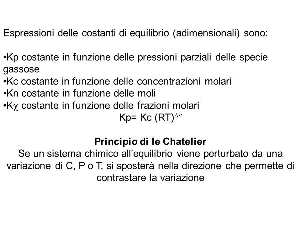 Espressioni delle costanti di equilibrio (adimensionali) sono: Kp costante in funzione delle pressioni parziali delle specie gassose Kc costante in fu