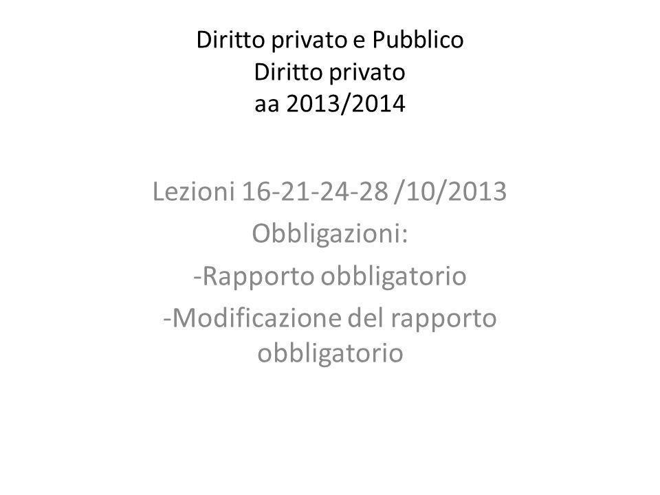 Diritto privato e Pubblico Diritto privato aa 2013/2014 Lezioni 16-21-24-28 /10/2013 Obbligazioni: -Rapporto obbligatorio -Modificazione del rapporto obbligatorio