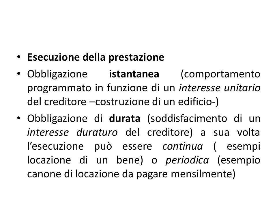 Esecuzione della prestazione Obbligazione istantanea (comportamento programmato in funzione di un interesse unitario del creditore –costruzione di un