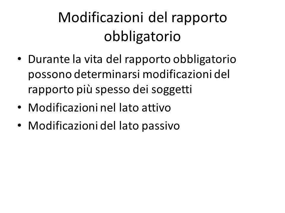 Modificazioni del rapporto obbligatorio Durante la vita del rapporto obbligatorio possono determinarsi modificazioni del rapporto più spesso dei soggetti Modificazioni nel lato attivo Modificazioni del lato passivo