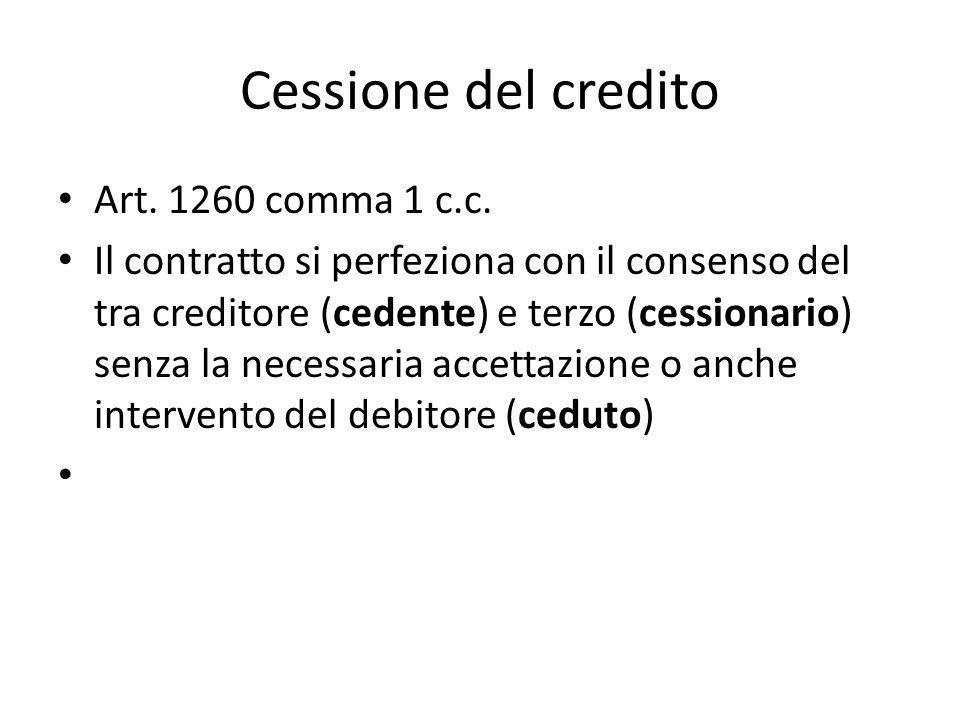 Cessione del credito Art. 1260 comma 1 c.c. Il contratto si perfeziona con il consenso del tra creditore (cedente) e terzo (cessionario) senza la nece