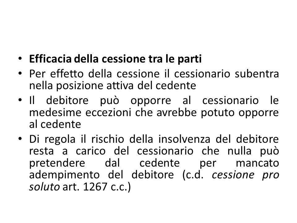 Efficacia della cessione tra le parti Per effetto della cessione il cessionario subentra nella posizione attiva del cedente Il debitore può opporre al
