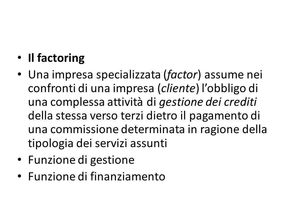 Il factoring Una impresa specializzata (factor) assume nei confronti di una impresa (cliente) l'obbligo di una complessa attività di gestione dei crediti della stessa verso terzi dietro il pagamento di una commissione determinata in ragione della tipologia dei servizi assunti Funzione di gestione Funzione di finanziamento
