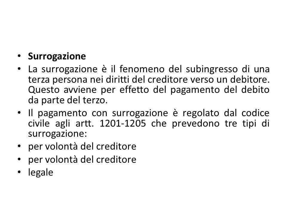 Surrogazione La surrogazione è il fenomeno del subingresso di una terza persona nei diritti del creditore verso un debitore. Questo avviene per effett