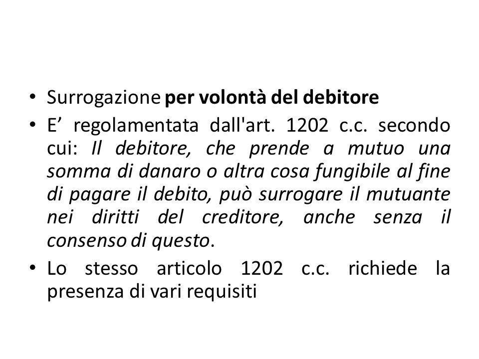 Surrogazione per volontà del debitore E' regolamentata dall'art. 1202 c.c. secondo cui: Il debitore, che prende a mutuo una somma di danaro o altra co