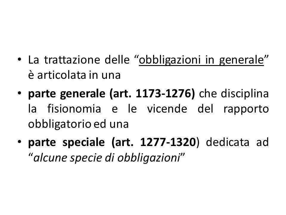 """La trattazione delle """"obbligazioni in generale"""" è articolata in una parte generale (art. 1173-1276) che disciplina la fisionomia e le vicende del rapp"""