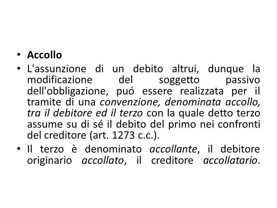 Accollo L'assunzione di un debito altrui, dunque la modificazione del soggetto passivo dell'obbligazione, puó essere realizzata per il tramite di una