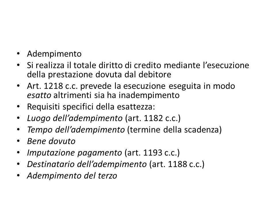 Adempimento Si realizza il totale diritto di credito mediante l'esecuzione della prestazione dovuta dal debitore Art. 1218 c.c. prevede la esecuzione