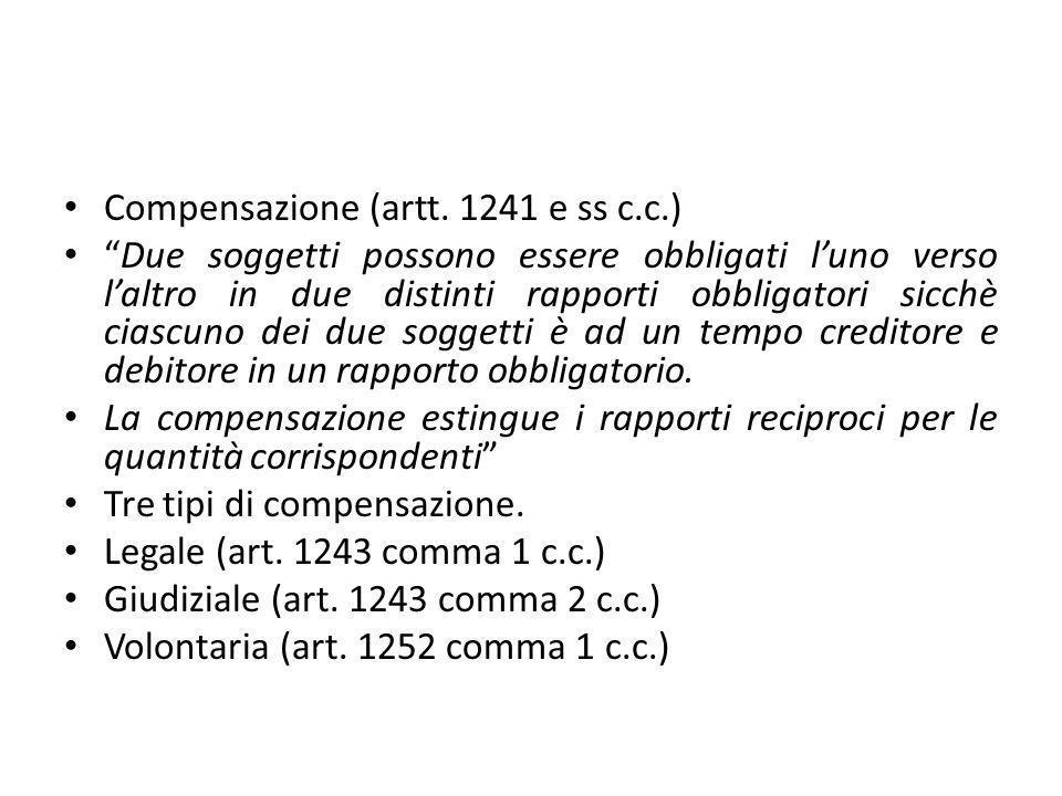"""Compensazione (artt. 1241 e ss c.c.) """"Due soggetti possono essere obbligati l'uno verso l'altro in due distinti rapporti obbligatori sicchè ciascuno d"""