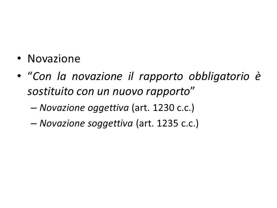 Novazione Con la novazione il rapporto obbligatorio è sostituito con un nuovo rapporto – Novazione oggettiva (art.