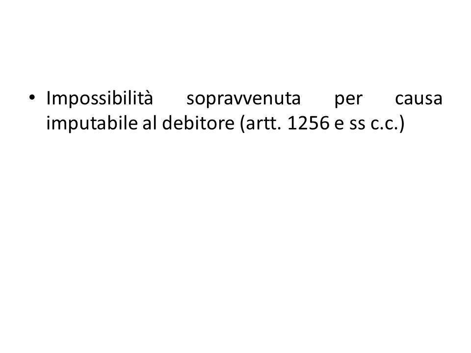 Impossibilità sopravvenuta per causa imputabile al debitore (artt. 1256 e ss c.c.)