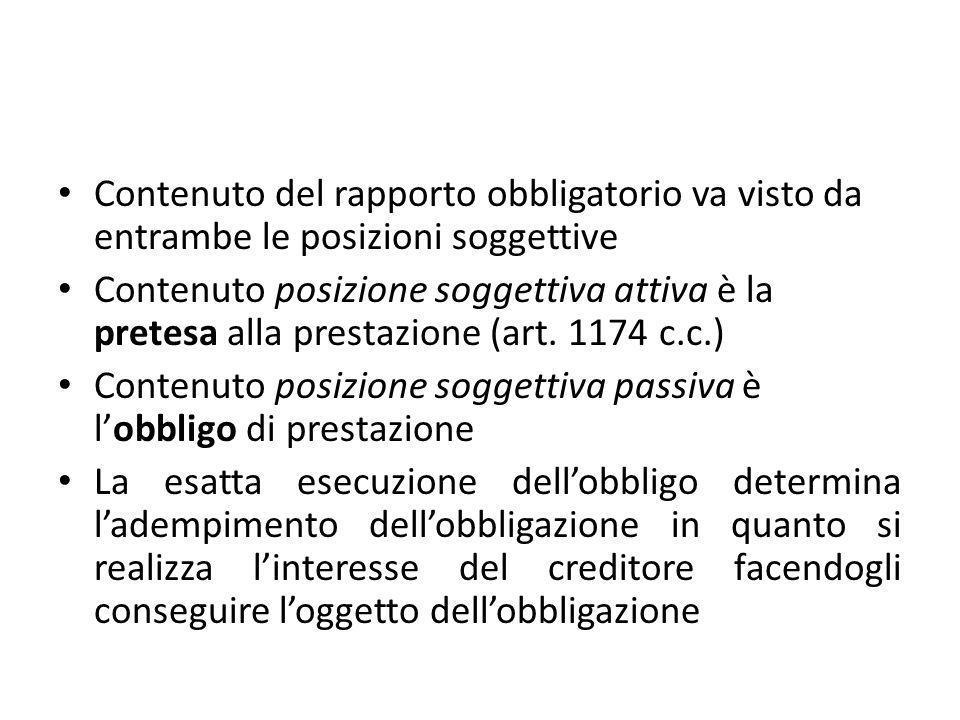 Contenuto del rapporto obbligatorio va visto da entrambe le posizioni soggettive Contenuto posizione soggettiva attiva è la pretesa alla prestazione (art.