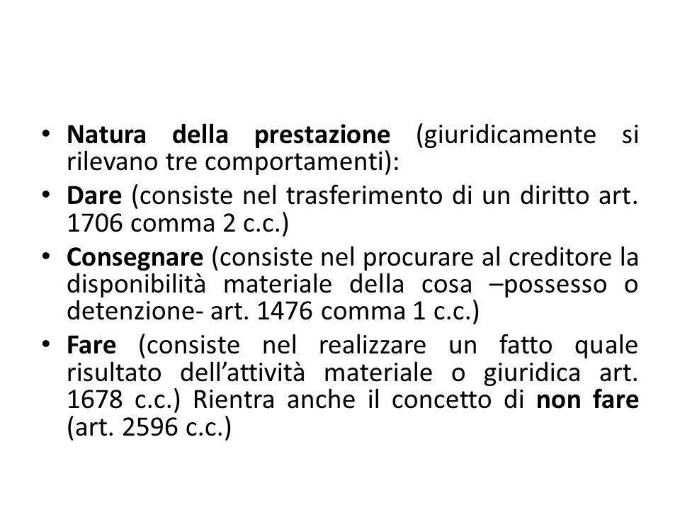 Natura della prestazione (giuridicamente si rilevano tre comportamenti): Dare (consiste nel trasferimento di un diritto art. 1706 comma 2 c.c.) Conseg