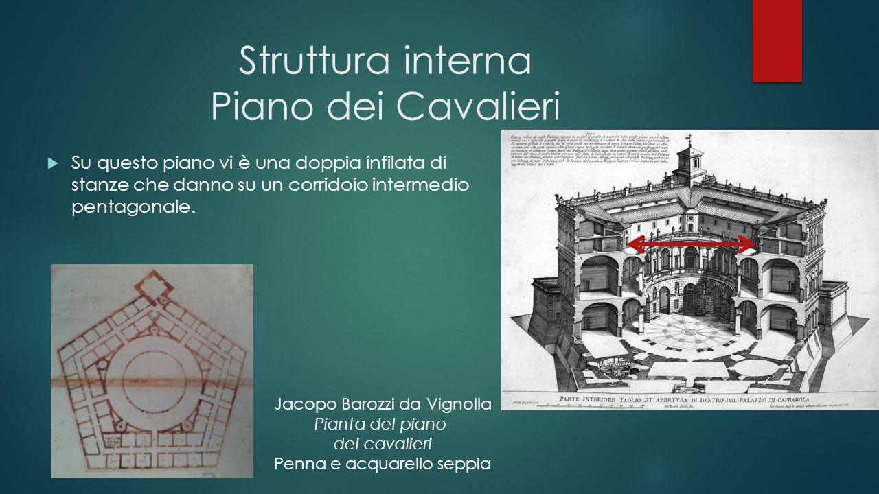 Struttura interna Piano dei Cavalieri  Su questo piano vi è una doppia infilata di stanze che danno su un corridoio intermedio pentagonale. Jacopo Ba