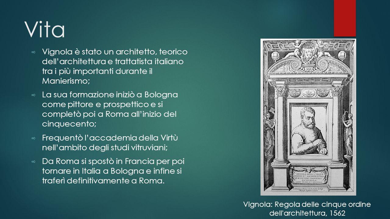 ∞ A Roma divenne architetto dei Farnese e ebbe anche l'incarico di architetto capo della basilica di San Pietro in Vaticano dopo la morte di Michelangelo nel 1564; ∞ 1562: pubblica trattato intitolato « Regola dei cinque ordini d'architettura » ∞ 1583: secondo trattato « Le due regole della prospettiva pratica »