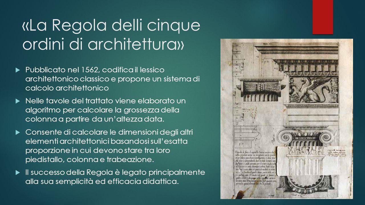 «La Regola delli cinque ordini di architettura»  Pubblicato nel 1562, codifica il lessico architettonico classico e propone un sistema di calcolo arc