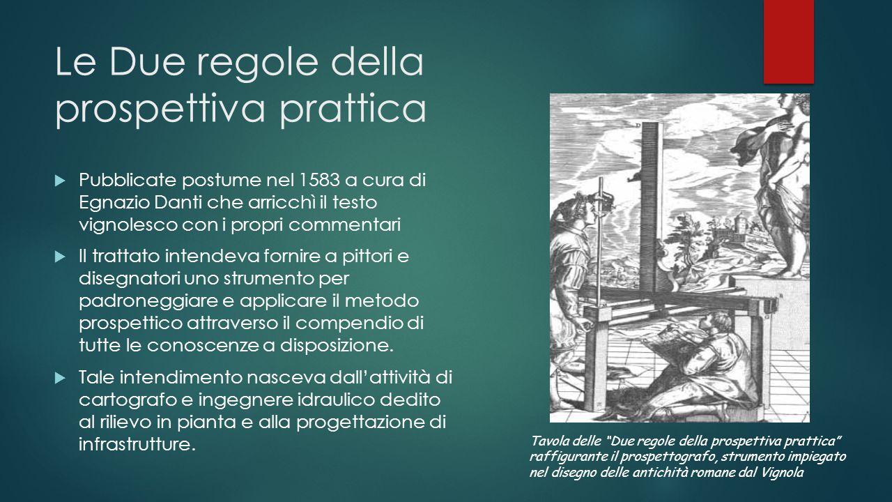 Le Due regole della prospettiva prattica  Pubblicate postume nel 1583 a cura di Egnazio Danti che arricchì il testo vignolesco con i propri commentar