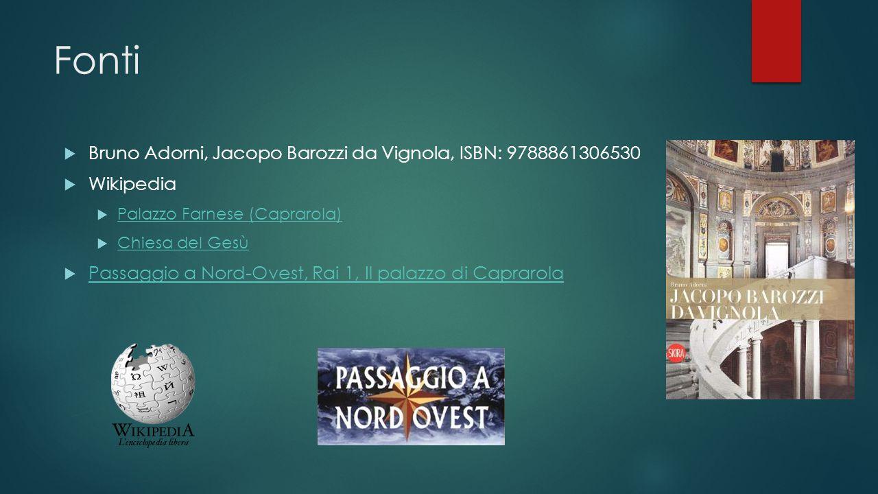 Fonti  Bruno Adorni, Jacopo Barozzi da Vignola, ISBN: 9788861306530  Wikipedia  Palazzo Farnese (Caprarola) Palazzo Farnese (Caprarola)  Chiesa de