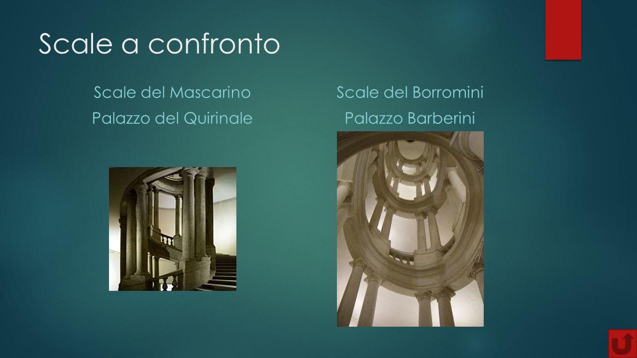 Scale a confronto Scale del Mascarino Palazzo del Quirinale Scale del Borromini Palazzo Barberini