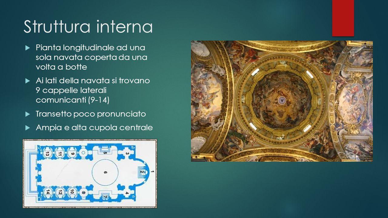 Struttura interna  Pianta longitudinale ad una sola navata coperta da una volta a botte  Ai lati della navata si trovano 9 cappelle laterali comunic