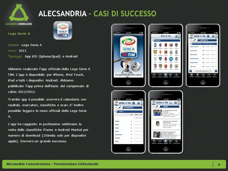 ALECSANDRIA – CASI DI SUCCESSO 9 Alecsandria Comunicazione – Presentazione Istituzionale Lega Serie A Cliente: Lega Serie A Anno: 2011 Tipologia: App iOS (Iphone/Ipad) e Android Abbiamo realizzato l app ufficiale della Lega Serie A TIM.