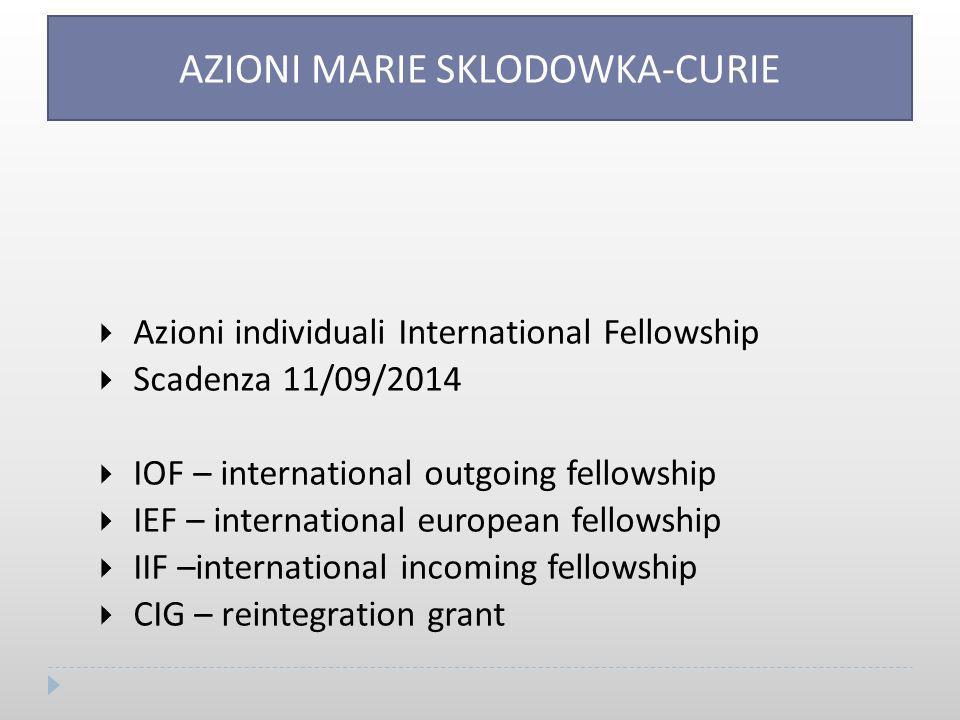  Azioni individuali International Fellowship  Scadenza 11/09/2014  IOF – international outgoing fellowship  IEF – international european fellowship  IIF –international incoming fellowship  CIG – reintegration grant AZIONI MARIE SKLODOWKA-CURIE