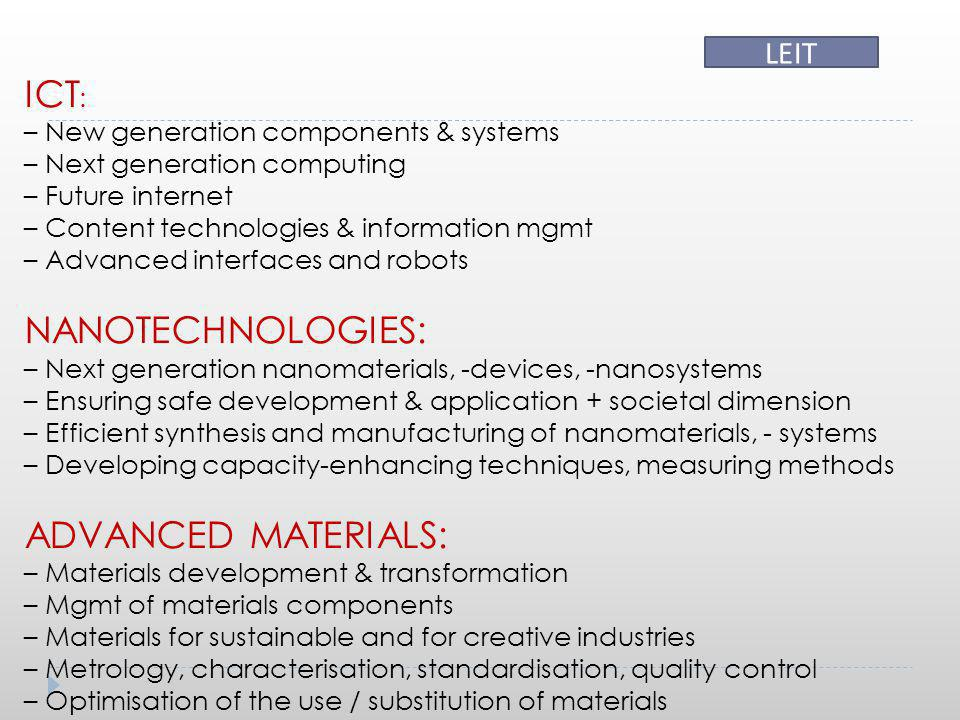 ICT : – New generation components & systems – Next generation computing – Future internet – Content technologies & information mgmt – Advanced interfa