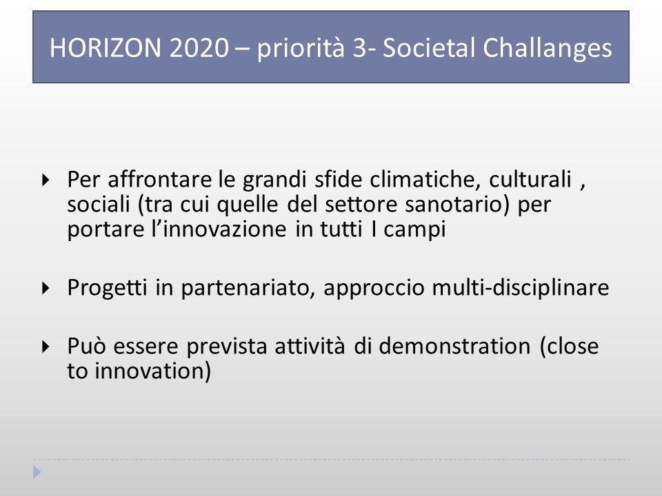  Per affrontare le grandi sfide climatiche, culturali, sociali (tra cui quelle del settore sanotario) per portare l'innovazione in tutti I campi  Progetti in partenariato, approccio multi-disciplinare  Può essere prevista attività di demonstration (close to innovation) HORIZON 2020 – priorità 3- Societal Challanges